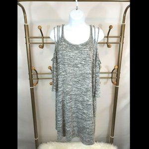 Umgee Cold Shoulder Distressed Tunic Dress